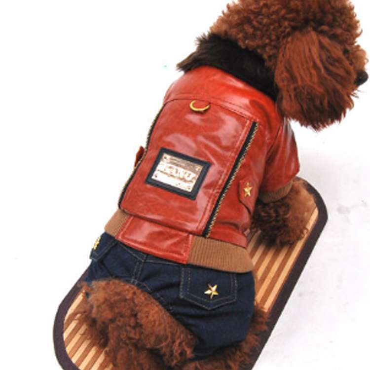 PUレザーとデニム ペット服 ロンパース ドッグウェア プルオーバー 犬の服 中綿 防寒 冬物 ダウンコート パーカー&パンツつなぎ