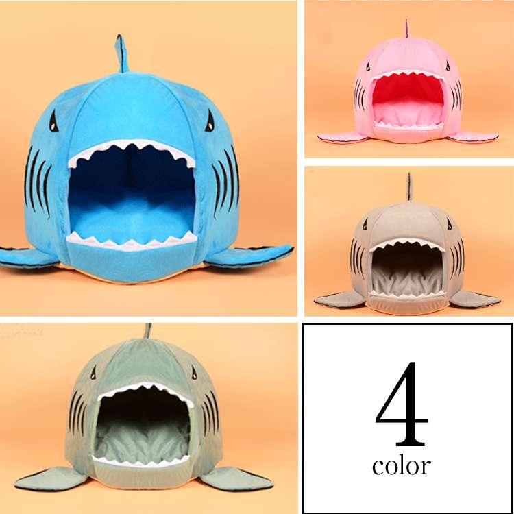 ペットベット 犬のベッド ドッグハウス ハウス ドーム 秋 冬用 サメ模様 キュート 可愛い