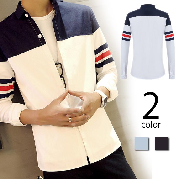 シャツ メンズ 折襟 長袖 トップス バイカラー ボーダー袖 前開き ボタン 無地 長そで メンズシャツ シャツアウター シャツジャケット シンプル 人気 メンズファション