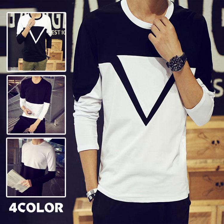 メンズ Tシャツ 長袖 バイカラー クルーネック 黒白 シンプル メンズ メンズTシャツ ショートTシャツ トップス 上着 カットソー メンズ トップス インナー 薄手