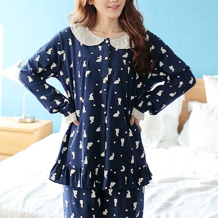 ルームウェア ナイトウェア ナイティー 寝間着 ペアルック カップル レディーズ メンズ パジャマ 兎柄 コットン カートーン