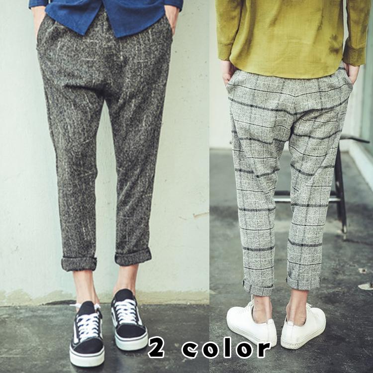 メンズ ズボン パンツ 9分ズボン サルエルパンツ チェック柄 ハロンズボン チェックパンツ シンプル カジュアル 韓国風 ジョガーパンツ スウェットパンツ ハロンパンツ