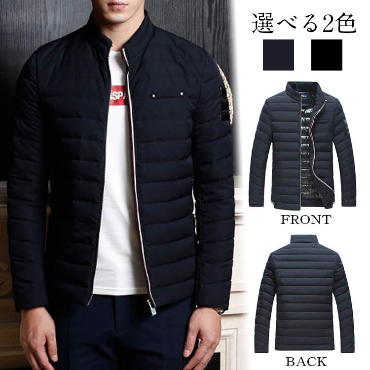 アウター ダウンジャケット 長袖 厚地 無地 メンズファション 立ち襟 スタンドカラー シンプル スリム ダウンコート 韓国ファション