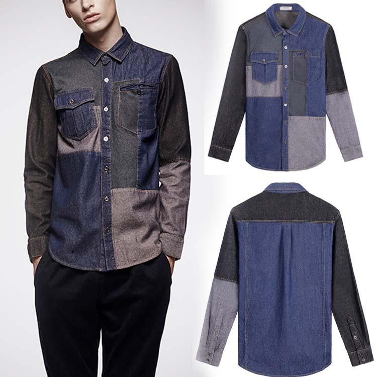 デニム 切替 ウエスタンシャツ 長袖 メンズファション 折襟 胸ポケット シャンブレーシャツ ダンガリーシャツ カジュアルシャツ