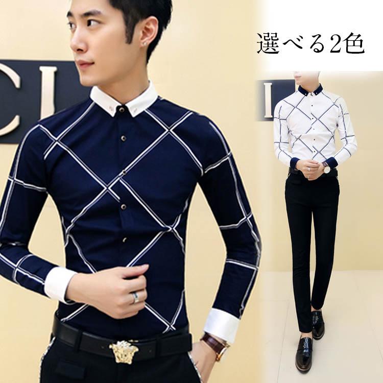 シャツ トップス 折襟 長袖 バイカラー チェック柄 プリント ビジネスシャツ メンズファション 紳士服 紳士ウェア スリム ブラウス