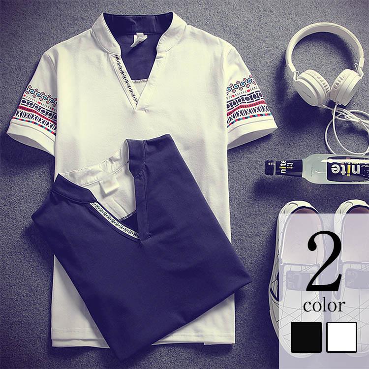 エスニック柄 半袖Tシャツ メンズ エスニックプリント Vネック 半袖 Tシャツ tシャツ カットソー メンズTシャツ 春服 春物