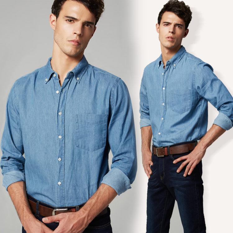 シャツ 無地 前開き 大きいサイズ デニム 長袖 メンズ オックスフォード デニムシャツ 長袖シャツ 無地 男性用