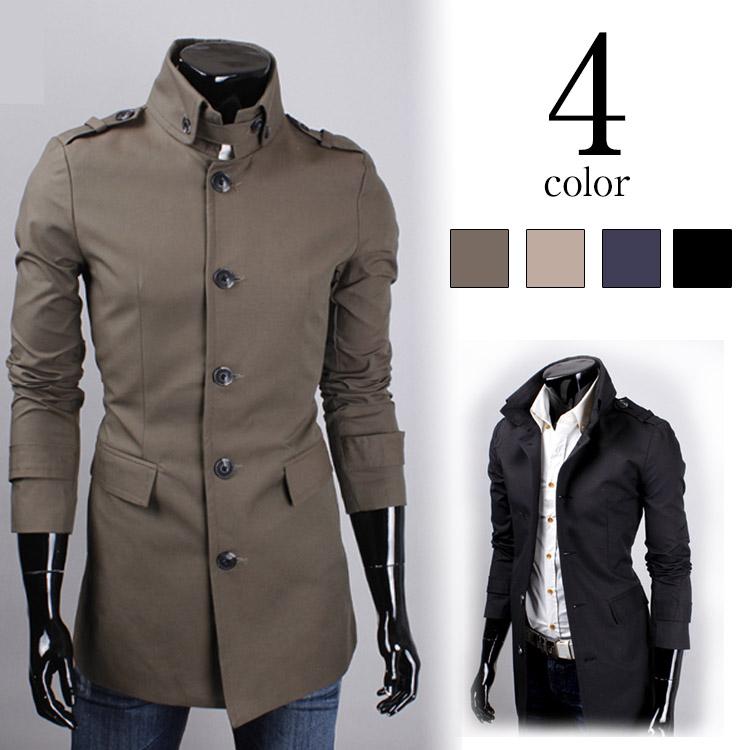 スプリングコート コート メンズ スタンドカラー 長袖 シングル マオカラー 無地 細身 きれい目 紳士服 立ち襟 カジュアル ビジネス