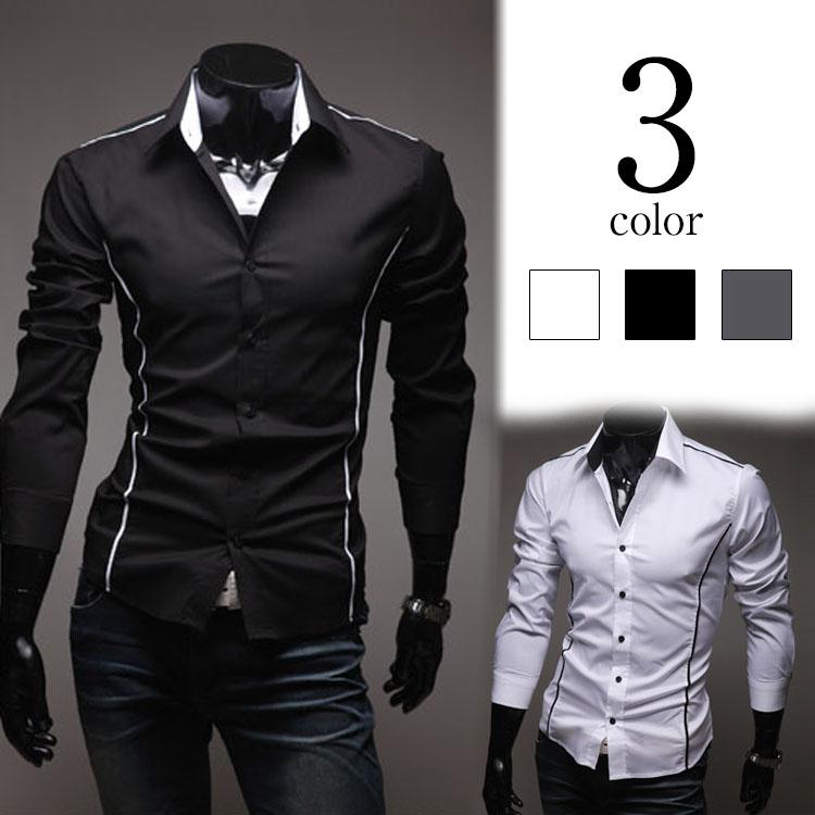 メンズシャツ カジュアルシャツ 折り襟 長袖 無地 ワイシャツ シャツ メンズ 長袖 ストライプ カジュアルシャツ バイカラー
