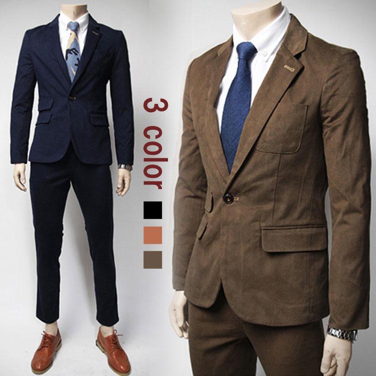 上下セット スーツセット テーラードジャケット アウター 長ズボン フォーマル メンズ スーツ セットアップ ジャケット パンツ ビジネス 韓国ファション